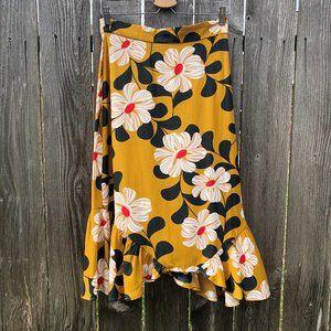 Eva Franco Ikebana Floral Skirt Mustard Yellow